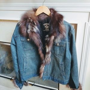 Damselle Lux Faux Fur Stampeded Denim Jacket